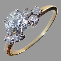 18k Diamond Ring Seven Sparkling Diamonds w Appraisal