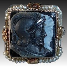 18k Edwardian Filigree Ring Sardonyx Stone Double Warrior Cameo