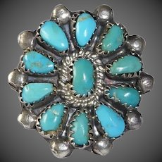 Native American Zuni Pawn Sterling Turquoise Rosette Ring