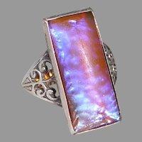 Art Deco Sterling Ring w Rectangular Dragons Breath Glass Opal