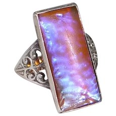 Art Deco Sterling Ring w Rectangular Dragons Breath Glass Opal