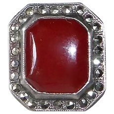 Art Deco Uncas Sterling Marcasite Carnelian Ring