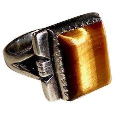 Sterling Silver Vibrant Tiger Eye Ring w Asymmetrical Setting