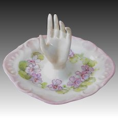 Victorian Revival Handpainted Porcelain Hand Ring Holder