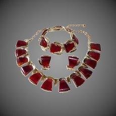 Charel Rootbeer Bakelite & Goldtone Necklace Bracelet Earrings Parure