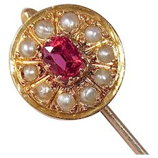 Antique Edwardian 14 & 10k Stickpin Seed Pearls and Paste Stone