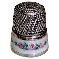 Sterling & Enamel Thimble Rose Vine & Foliage