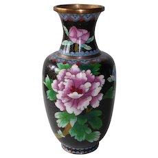 Mid Century Chinese Cloisonne Floral Chrysanthemum Vase w Bird