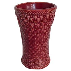 McCoy Cranberry Glaze Basketweave Vase