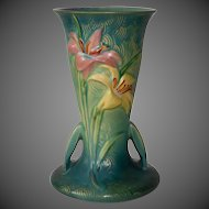"Roseville Pottery 9"" Zephyr Lily Vase in Blue-Green"