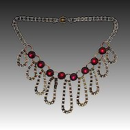 Divine Art Deco Large Collar Necklace with Red Glass Cabs