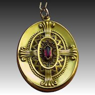 Superb Victorian Gold Filled Etruscan Style Locket with Red Stone