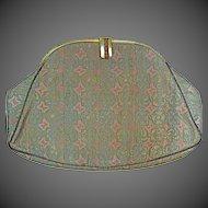 Vintage Shimmering Silk Brocade Jewelled Frame Evening Purse