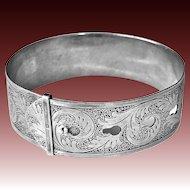 Charles Horner Engraved Wide Buckle Bracelet c1945