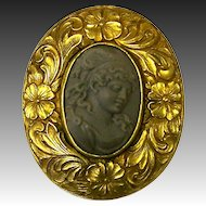 Victorian Lava Cameo in Ornate Floral Frame