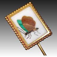 18k Yellow Gold Pietra Dura Butterfly Mosaic Stickpin