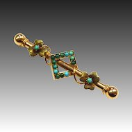 Antique Victorian 14k & Turquoise Watch Pin