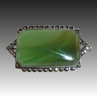 Art Deco Sterling Marcasite Translucent Green Agate Pin
