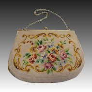Floral Needlepoint Vintage Evening Purse