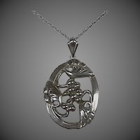 Vintage Coro Norseland Sterling Leaf & Berry Pendant & Chain