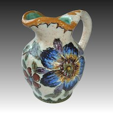 Gouda Holland Miniature Floral Pitcher Signed