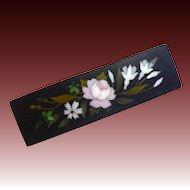 Antique 9k Italian Pietra Dura Stone Floral Mosaic Pin