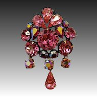 Sparkling Regency Vibrant Shades of Pink Rhinestone Pin