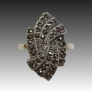 Art Deco Swirling Sterling & Marcasite Ring