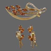 !950s Gold Filled Signed Pin & Earring Set Amber Rhinestones