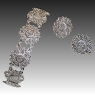 Sterling & Marcasite Daisy Link Bracelet & Earrings Set