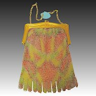 Whiting Davis Enameled Fine Enameled Dresden Mesh Purse c1920s