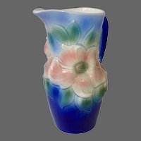 Royal Copley Cobalt Blue & Pink 'Floral Beauty' Pitcher