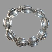 Mexican Sterling Art Deco Stepped Design Bracelet w Abalone Inlay