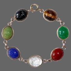 Egyptian Revival Van Dell GF Semi Precious Stone Scarab Beetle Bracelet