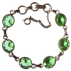 Green Glass Jewel Link Bracelet