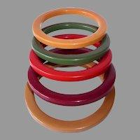 Bakelite Bangle Bracelets Colorful Set of 5