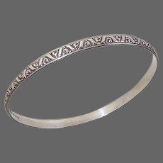 Early Danecraft Felch Sterling Patterned Bangle Bracelet