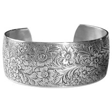 Danecraft Sterling Silver Wide Floral Cuff Bracelet