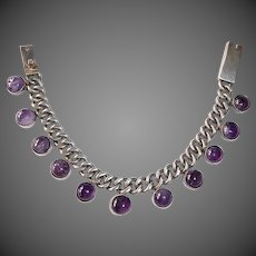 Mexican Sterling Heavy Curb Chain Bracelet Amethyst Cabs