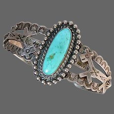 Native American Sterling Cuff Bracelet w Turquoise