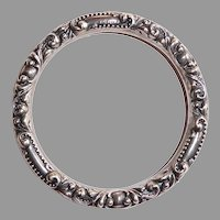 Victorian Sterling Handcrafted Repousse Bangle Bracelet
