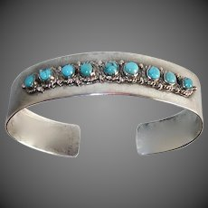 Mexican Sterling Cuff Bracelet 9 Turquoise Cabochons
