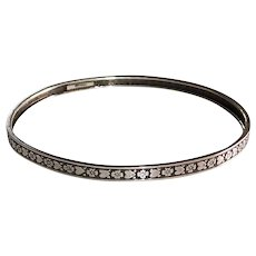 Sterling Silver Patterned Bangle Bracelet Hearts & Flowers