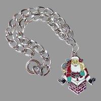 Sterling Curb Chain Bracelet w Enamel Santa Charm