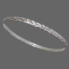 Sterling Silver Bangle Bracelet Embossed Wreath Vine