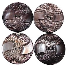Set of 4 Carved Gray Mother of Pearl Buttons