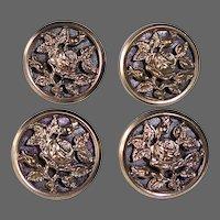 Set of 8 Antique Brass Rose Buttons Paris Back