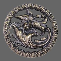 Large Victorian Picture Button Mythical Bird with Dragon Tail