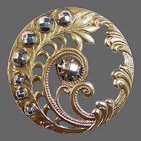 Victorian Art Nouveau Brass Openwork Button w Cut Steels