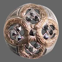 Victorian Pierced Brass Dome Button w Pyramid Cut Steels